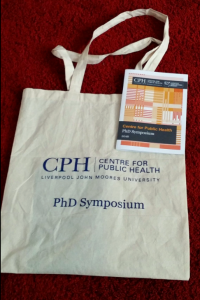 PhD Symposium bag and flyer (© Public Health Institute, Liverpool John Moores University)